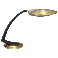 Fase Madrid Mid-Century Black and Gold Desk Lamp, Special Edition, 1960s