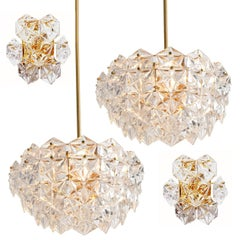 Set of Four Kinkeldey Faceted Crystal and Gilt Metal Light Fixtures, Germany