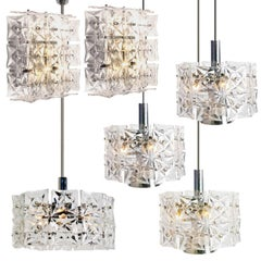 Set of Five Kinkeldey Light Fixtures, Nickel Crystal Glass, 1970