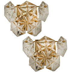 Gilt Brass Metal Faceted Crystal Glass Sconces Wall Lights Kinkeldey 1970s, Pair
