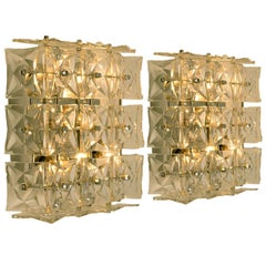 Pair of Kinkeldey Wall or Flush Mount Lights Sconces, Nickel Crystal Glass, 1970