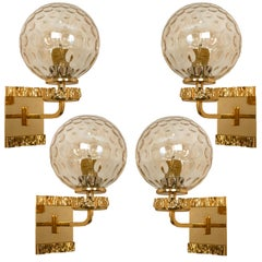 1 of 4 Gold-Plated Blown Glass Wall Lights in the Style of Brotto, Italy