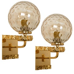 Pair of Gold-Plated Blown Glass Wall Lights in the Style of Brotto, Italy