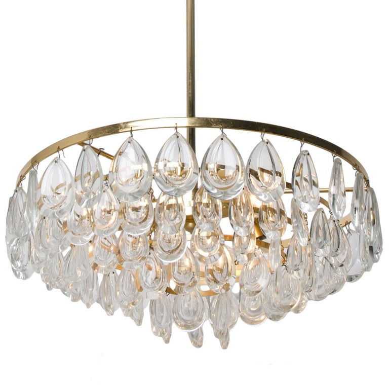 Mid-Century Modern Palwa Chandelier, Gilded Brass and Faceted Crystal, 1960s For Sale
