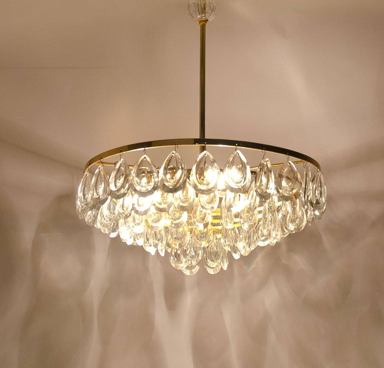 German Palwa Chandelier, Gilded Brass and Faceted Crystal, 1960s For Sale