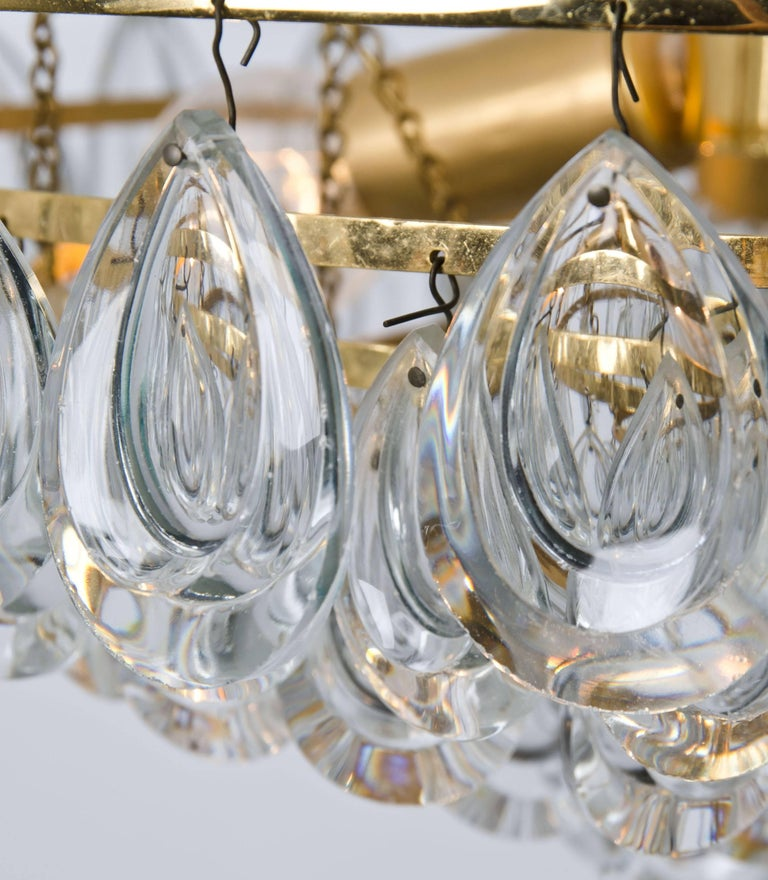 Palwa Chandelier, Gilded Brass and Faceted Crystal, 1960s In Good Condition For Sale In Rijssen, NL