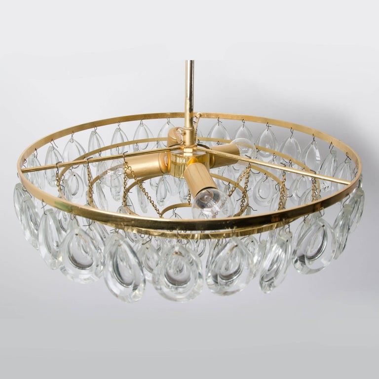 20th Century Palwa Chandelier, Gilded Brass and Faceted Crystal, 1960s For Sale