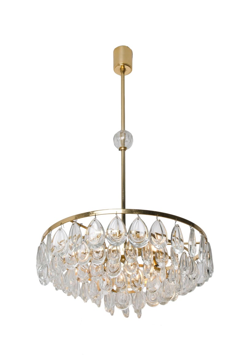 Palwa Chandelier, Gilded Brass and Faceted Crystal, 1960s For Sale 1