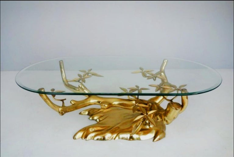 20th Century Massive Brass Coffee Table in the Style of Willy Daro Belgium, 1970s For Sale