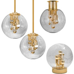 Set of Four Space Age Brass and Blown Glass Light Fixtures by Doria