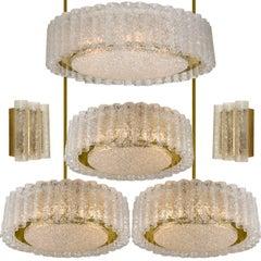 Set aus sechs Glas-Messing-Leuchten von Doria, Deutschland, 1960er Jahre