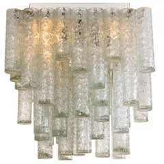 One of Two Square Flush Mount Chandelier from Doria, 1960s