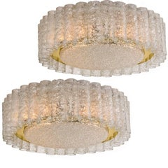 Pair of Organic Doria Flush Mount Chandeliers and Four Spare Glasses