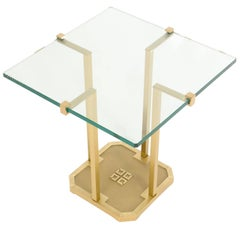 Peter Ghyczy, Brass and Glass Side Table, Early 1970s