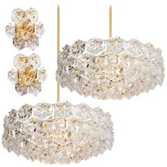 Set of Four Large Gilded Brass and Crystal Light Fixtures by Kinkeldey, 1969