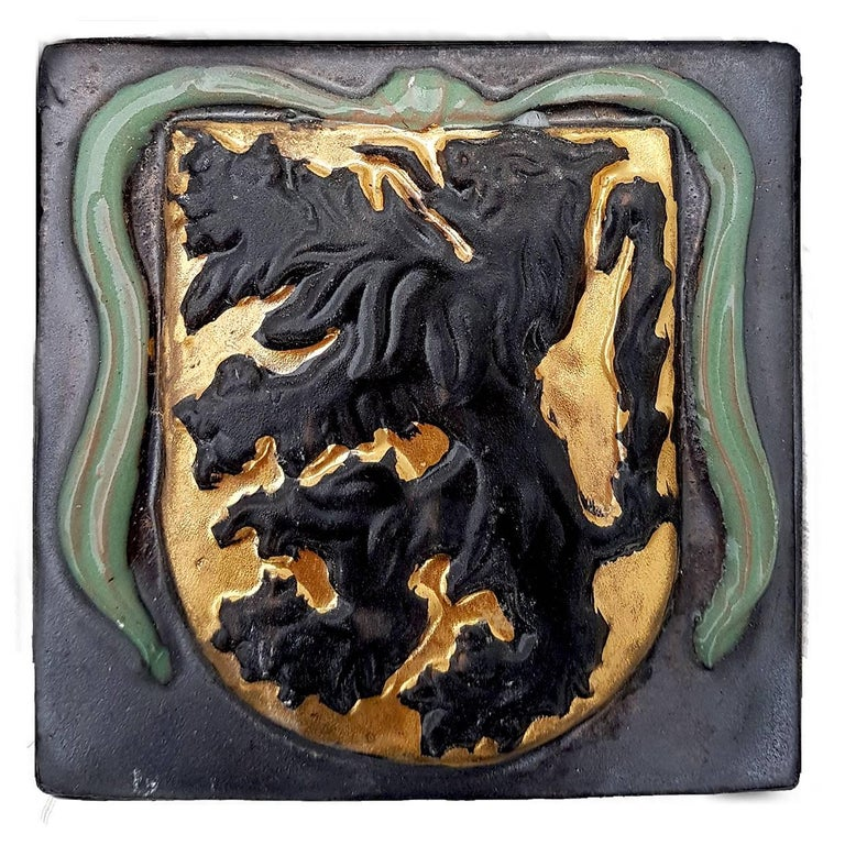 Medieval 19th Century Set of 25 Authentic Ceramic Relief Fire Place Tiles, France For Sale