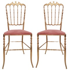 Pair of Italian Massive Brass Chairs by Chiavari, Upholstery Pink Velvet