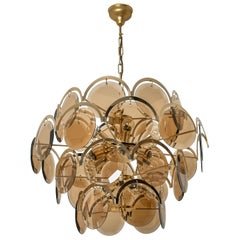 Large Smoked Glass and Brass Chandelier in the Style of Viscosi, Italy