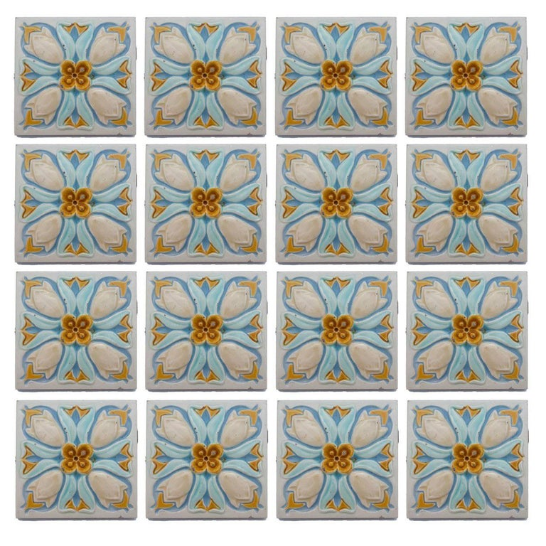 20 Art Deco Relief Tiles by Gilliot, 1930 For Sale