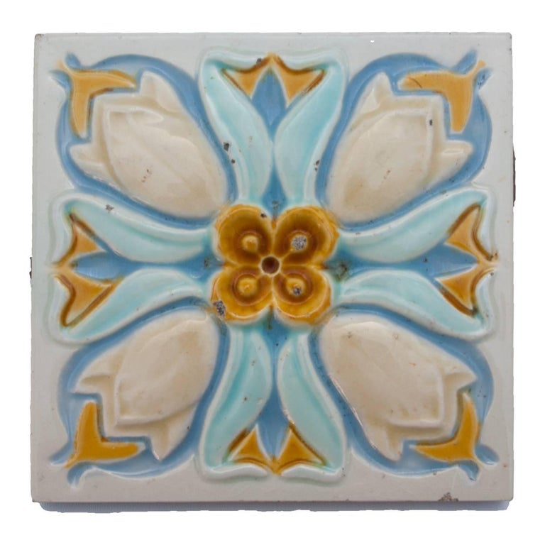Stunning Art Deco tile panel from the superb firm, Gilliot, Heminksen, circa 1930, this quantity original Jugenstil tiles by Craven is very rare to find. With beautiful crackle.  Size each tile: 6 inches ( 15,2cm) width x 6 inches ( 15,2 cm)