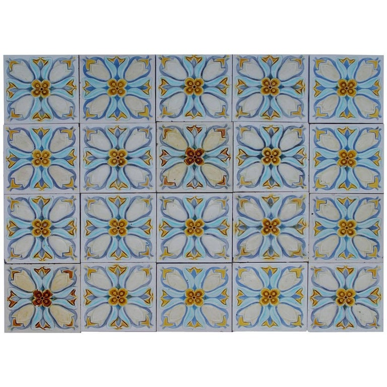 20 Art Deco Relief Tiles by Gilliot, 1930 In Good Condition For Sale In Rijssen, NL