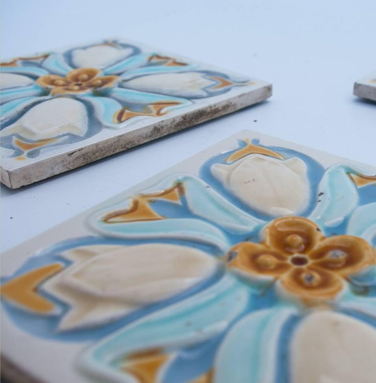 Ceramic 20 Art Deco Relief Tiles by Gilliot, 1930 For Sale