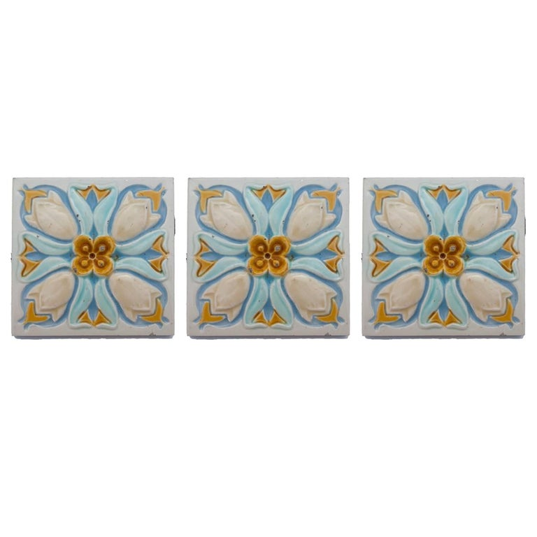 20 Art Deco Relief Tiles by Gilliot, 1930 For Sale 1