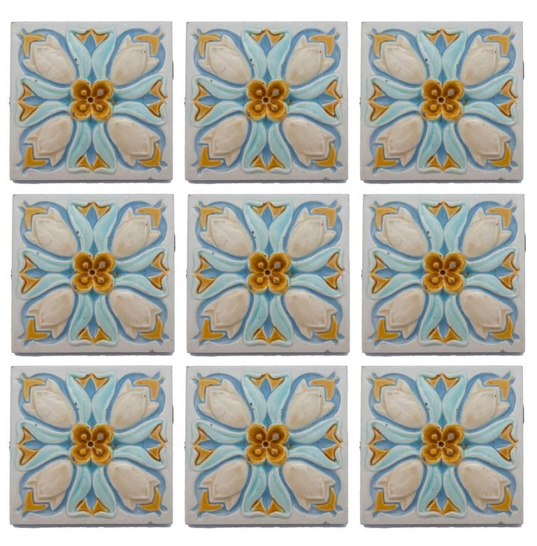 20 Art Deco Relief Tiles by Gilliot, 1930 For Sale 2