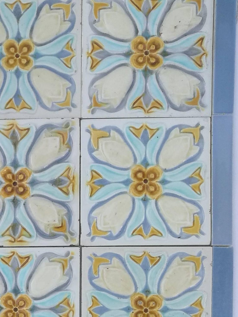 20 Art Deco Relief Tiles by Gilliot, 1930 For Sale 3