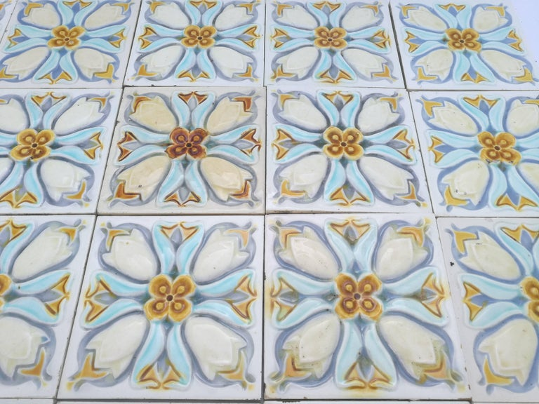 20 Art Deco Relief Tiles by Gilliot, 1930 For Sale 4