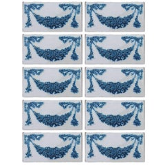 Set of 50 Hand Painted Ceramic Relief Tiles by Societe Morialme, 1895
