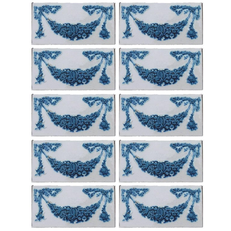 Set of 50 Hand Painted Ceramic Relief Tiles by Societe Morialme, 1895 For Sale
