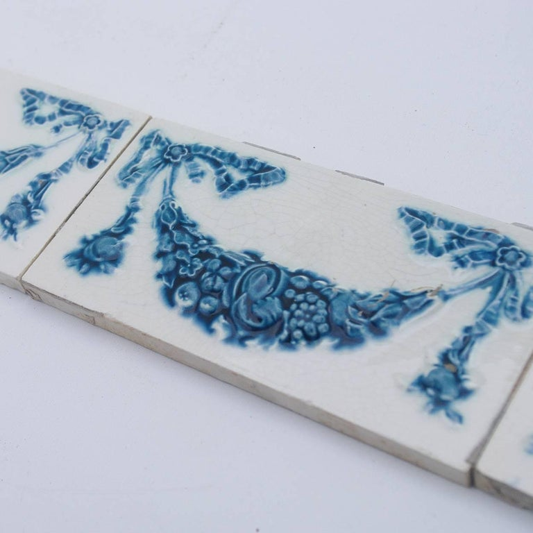 European Set of 50 Hand Painted Ceramic Relief Tiles by Societe Morialme, 1895 For Sale