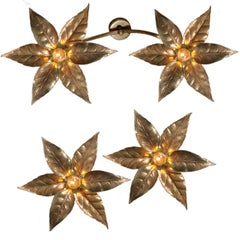 Three Willy Daro Style Brass Flowers Ceiling or Wall Lights by Massive Lighting