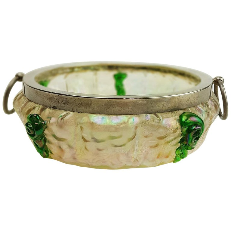 Art Nouveau Kralik Irised Silver Topped Bowl For Sale