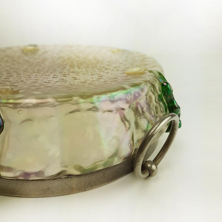 Fine iridised green Kralik bowl with silver collars. The silver collars are marked sterling silver.   Kralik was at the time one of the largest Bohemian glass makers only a few miles down the road from Loetz. Along with their brother company