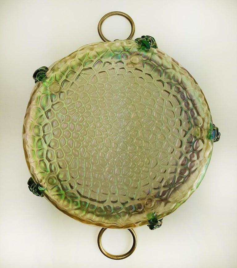 Art Nouveau Kralik Irised Silver Topped Bowl In Good Condition For Sale In Rijssen, NL