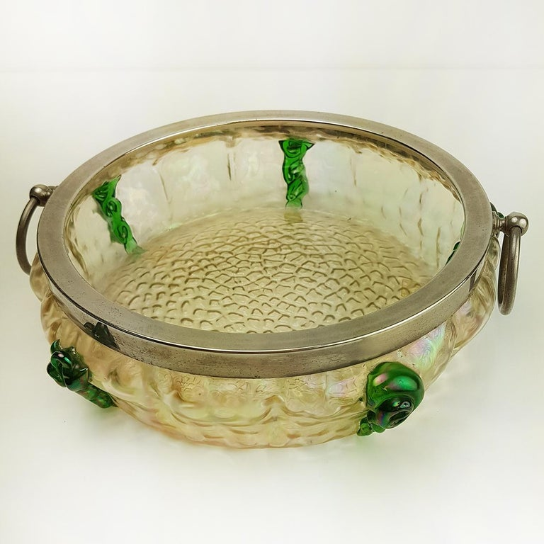 19th Century Art Nouveau Kralik Irised Silver Topped Bowl For Sale