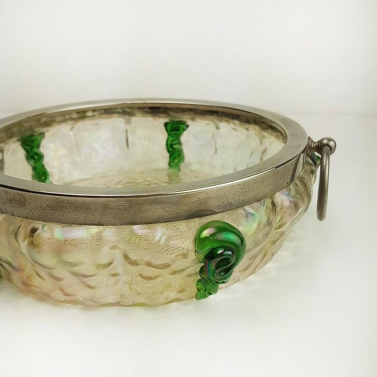 Blown Glass Art Nouveau Kralik Irised Silver Topped Bowl For Sale