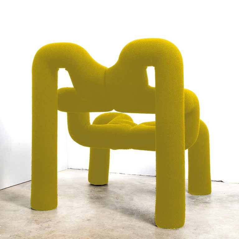 Pair of Iconic Yello Lounge Chairs by Terje Ekstrom, Norway, 1980s In Excellent Condition For Sale In Rijssen, NL