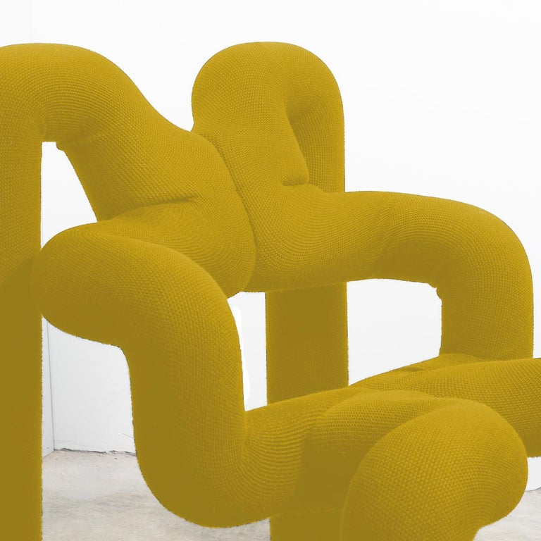 Wool Pair of Iconic Yello Lounge Chairs by Terje Ekstrom, Norway, 1980s For Sale