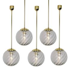 Set of 60 Brass and Glass Pedant Lights, 1960