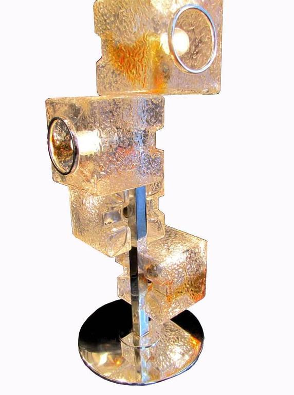 Italian Exceptional Mazzega Sculptural Floor Lamp, Murano, Italy 1970 For Sale
