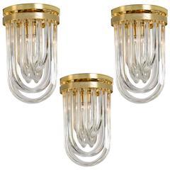 Three Impressive Venini Flush Mounts, Curved Crystal Glass and Gilt Brass, Italy