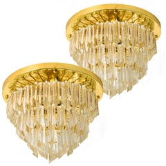 Pair of Four-Tiered Venini Murano 'Astra Quadrilobo' Chandelier, Italy, 1960