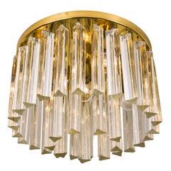 Huge Kalmar Two-Tier Murano Glass Flush Mount with Venini Triedri Crystals