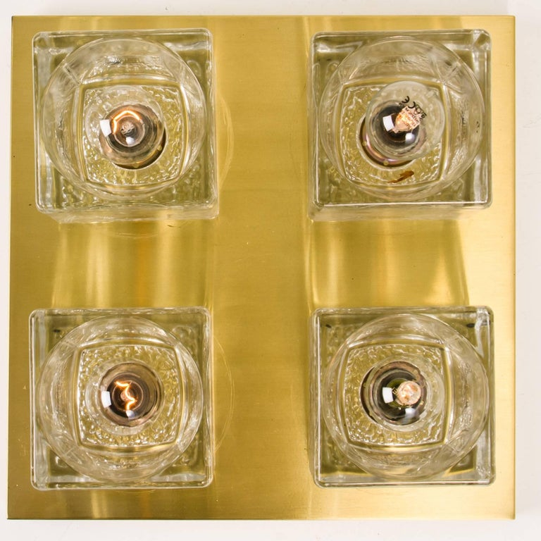 20th Century Peill & Putzler Wall Light Ceiling Light, Brass and Glass, Germany, 1970 For Sale