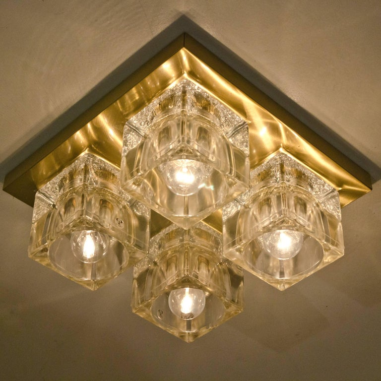 Peill & Putzler Wall Light Ceiling Light, Brass and Glass, Germany, 1970 For Sale 3