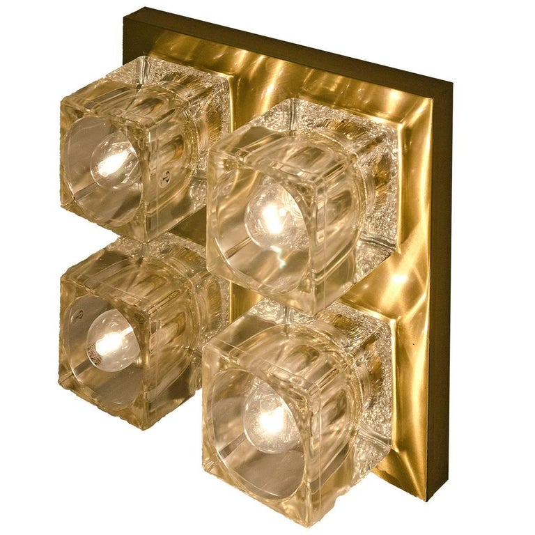 Peill & Putzler Wall Light Ceiling Light, Brass and Glass, Germany, 1970 For Sale 4
