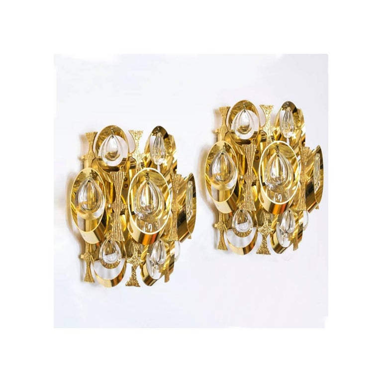 Pair of Crystal and Gold-Plated Sciolari Wall Sconces, Italy, 1960 at 1stdibs